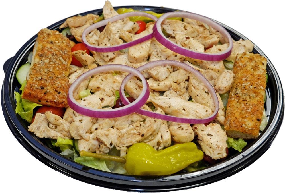 Grilled Chicken Salad with Breadsticks
